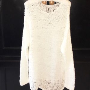 Katherine Barclay Loose Weave White Sweater